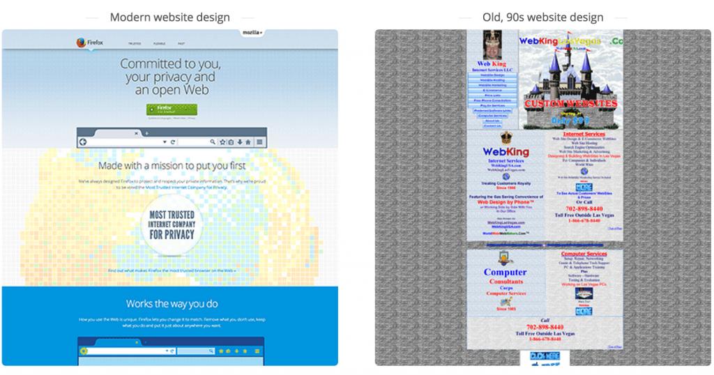 old website design vs new website design