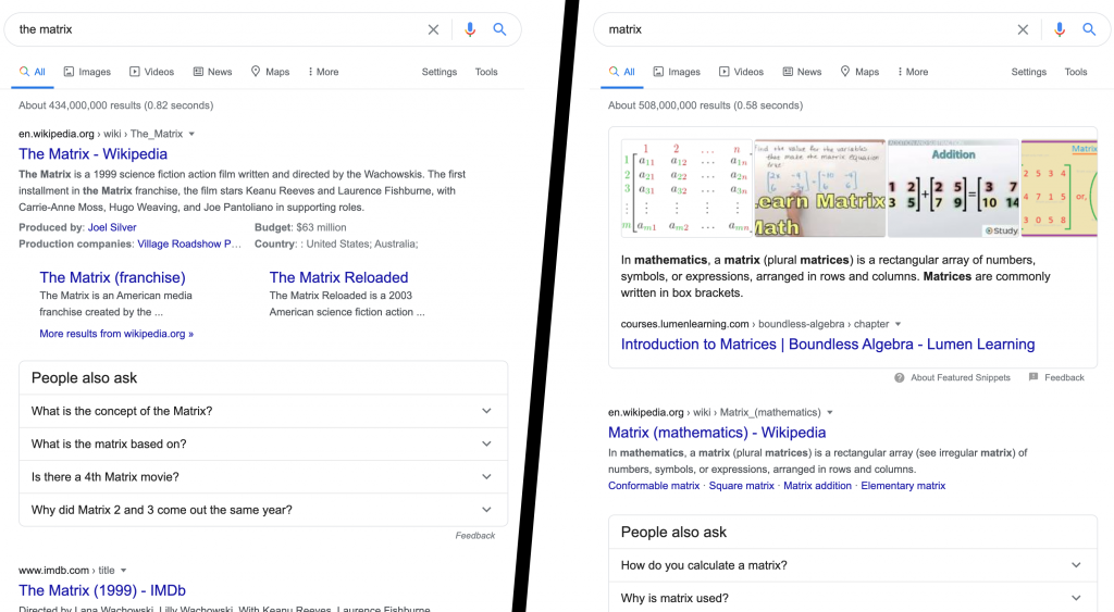 SEO stop words - Matrix vs The Matrix